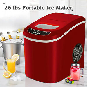 26lbs day Portable Electric Ice Maker Cube Machine Countertop Home Red