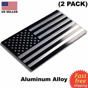 2 Pack Aluminum Us Flag Sticker 3d Emblem Decal Patriotic Car Bike 3 15 X1 75
