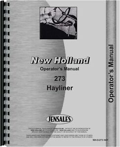 New Holland 273 Baler Operators Manual nh o 273 Hay