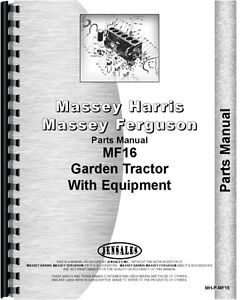 Massey Ferguson 16 Lawn Garden Tractor Parts Manual