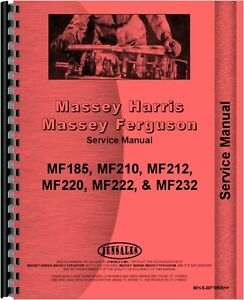 Massey Ferguson 185 210 220 Backhoe Attachment Service Manual Mh s mf185bh