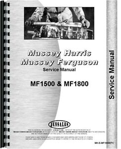 Massey Ferguson 1500 1800 Tractor Service Manual mh s mf1500etc