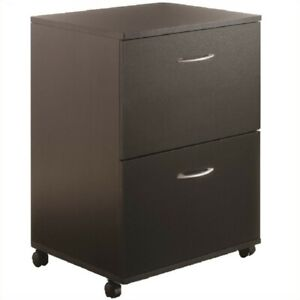 Filing Cabinet File Storage 2 Drawer Mobile Wood In Black By Nexera