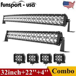 32inch Curved Led Light Bar 22 Combo 4 Pods Offroad Driving Fit Ford Truck