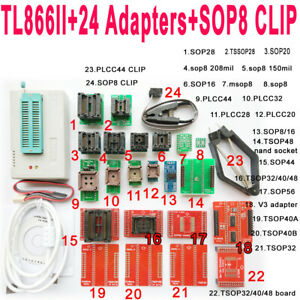 Minipro Tl866ii Programmer 25 Adapter Socket Sop8 Clip Ic Clamp Bios Flash Eprom