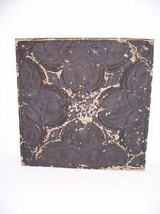 Antique Black Paint Metal Tin Ceiling Tile 24 X 24 Sheet Panel Reclaim Salvage