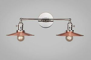 Vintage Art Deco Double Wall Sconce Industrial Lighting Copper