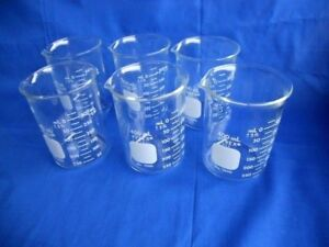 Lot Of 4 Pyrex 400ml Heavy Duty Griffin Low Form Beaker 1003 Dual Meteric Scale