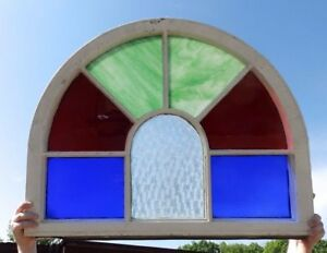 Antique Arch Top Stained Glass Window Sash Garden Shabby Vtg Chic 25x33 585 17r