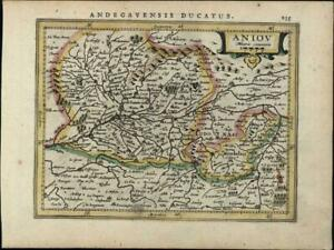 Anjou Northern France Aniov Loire Valley Antique C 1628 Mercator Minor Old Map
