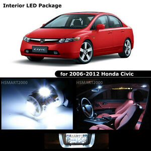6pcs Cool White Led Bulbs Interior Kit For 2007 Honda Civic Coupe Sedan