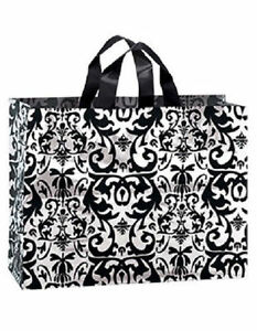 Frosty 75 Black White Damask Plastic Frosted Shopping Bags S M L 120 W Tissue