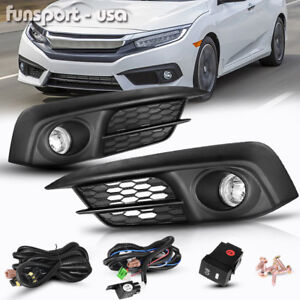 For 2016 2017 Honda Civic 2 4dr Clear Front Bumper Fog Lights Lamps Switch Bulbs