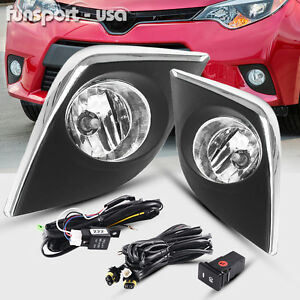 For 2014 Toyota Corolla Ce L Le Clear Bumper Fog Lights Lamps switch wiring
