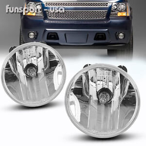 For 07 13 Chevy Avalanche Suburban Tahoe Gmc Clear Fog Lights Driving Lamps Pair