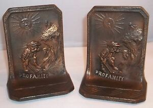 Bookends With Golfer Image Vintage