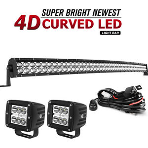 Curved Led Light Bar 52inch 32 Combo 4 Pods Offroad For Ford Jeep 4x4wd Suv