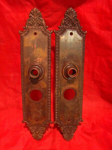 Set Of 2 Antique Huge Brass 13 5 Victorian Entry Door Back Plates A