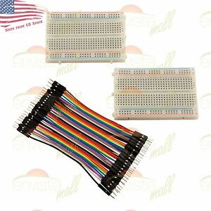 2x 400 Point Solderless Prototype Breadboard Protoboard 40 Dupont 10cm M m Wires