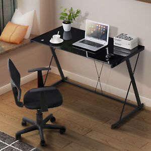 Computer Desk Pc Laptop Glass Table Black Workstation Office Home Furniture Blk