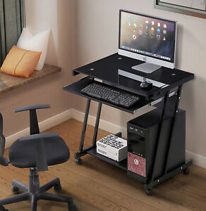 Computer Desk Laptop Pc W 4 Wheels Roll Table Workstation Office Home Furniture