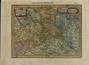 Saxony Germany Dresden Leipzig Beautiful Antique C 1628 Mercator Minor Old Map