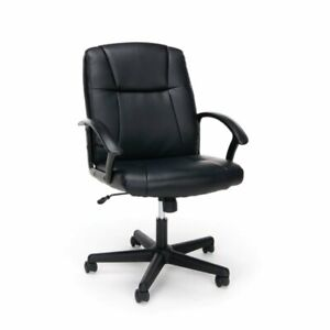 Ofm Essentials Ergonomic Leather Executive Office Chair In Black