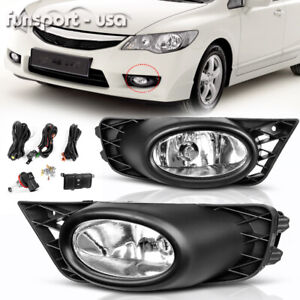 For 2009 2011 Honda Civic 4dr Sedan Jdm Clear Bumper Fog Lights Lamps Left right