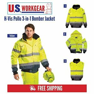 High Visibility Rain Jacket Contrast Bomber Work 3 in 1 M 6xl portwest Uc465