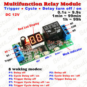 Dc12v Led Programmable Cycle Delay Turn On off Timer Control Relay Switch Module