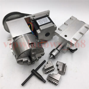 Hollow Shaft Rotary Axis Tailstock 4th A Axis Rotational Axis 3jaw 100mm Chuck