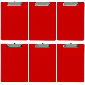 Plastic Clipboard Opaque Color Letter Size Low Profile Clip pack Of 6 red