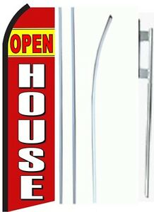 Open House King Size Swooper Flag Sign W complete Set