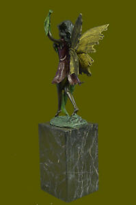 Beautiful Bronze Statue Fairy Nymph Goddess W Marble Base Figurine Figure