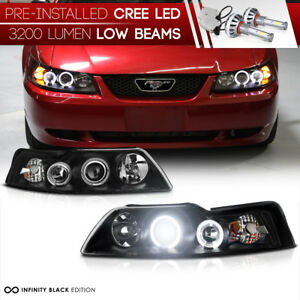 Pre Installed Led Low Beam 1999 2004 Ford Mustang Gt Cobra Black Headlight Set