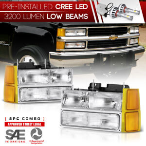Built In Led Low Beam 1994 1998 Chevy Silverado Tahoe Suburban Headlights New