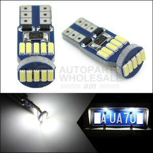 2pcs T10 15smd White Wedge Led Bulbs Canbus License Plate Light W5w 168 259 194