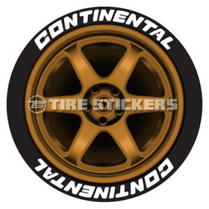 White Continental Tire Stickers 1 50 For 14 15 16 Wheels 8 Decals