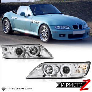 96 02 Bmw Z3 Dual Halo Projector Euro Chrome Headlight Lamps Assembly Left right