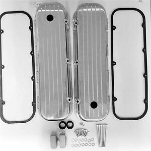 Big Block Chevy Tall Polished Valve Covers Ball Milled Aluminum 454 W Gaskets