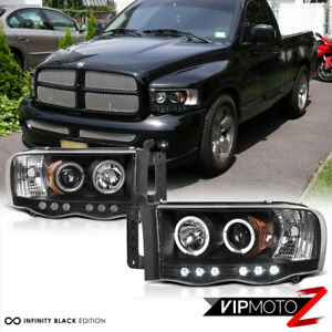 2002 2005 Dodge Ram 1500 Black Halo Led Projector Head Light 03 05 Ram 2500 3500