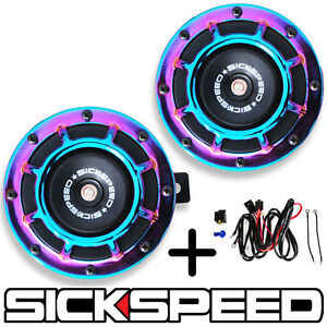 Sickspeed 2pc Neo Chrome Super Loud Grille Mount Blast Tone Horn W Harness P23