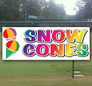 Snow Cones Advertising Vinyl Banner Flag Sign Many Sizes Available Usa