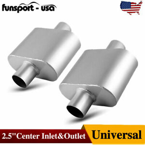2pcs Center 2 5 Inlet 2 5 Inch Outlet Performance Race Mufflers Single Chamber