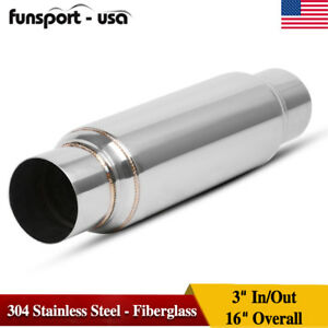 Universal 3 In Out Exhaust Muffler Resonator Fiberglass Stainless Steel
