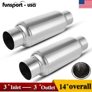 2pcs Car Truck Diesel Performance Exhaust Mufflers Resonator 2 5 Inlet outlet