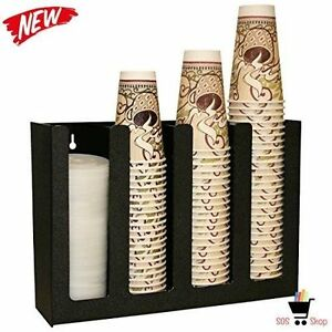 Professional Coffee Cup Lid Dispenser Holder Organizer Caddy Rack Office Black