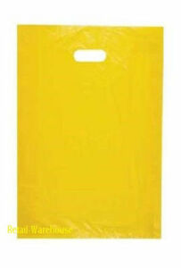 Plastic Shopping Bags 1000 Yellow High Density Merchandise Handles 12 X 3 X 18