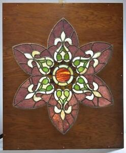 Large Stained Glass Five Petal Flower Shape In Wood Frame