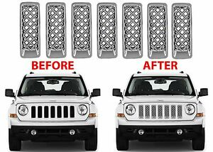 7pc Chrome Mesh Grill Inserts For 2011 2017 Jeep Patriot New Free Shipping Usa